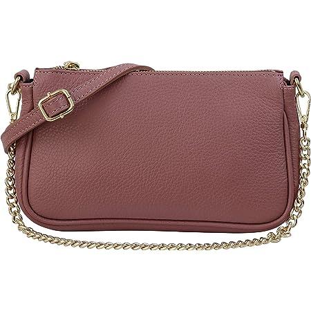 SH Leder Echtleder Umhängetasche Schultertasche Handtaschen Clutch kleine Abendtasche Goldfarbene Metallbeschläge 23x13cm Larisa G324