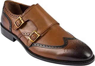 Jack Martin - Handmade - Tan Burnished Genuine European Leather Double Monk Strap Shoes