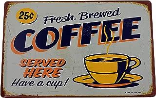 K&H Fresh Brewed Coffee Retro Metal Tin Sign Posters Kitchen Café Diner Restaurant Wall Decor 12X8-Inch