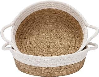 Sea Team Lot de 2 paniers en corde de coton, petit panier de rangement tissé 10 x 3 pouces, plateau en tissu, bol, plat ro...