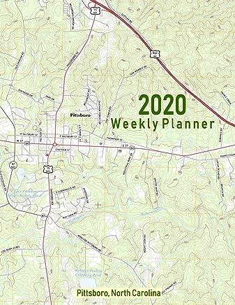 2020 Weekly Planner: Pittsboro, North Carolina: Topo Map Cover