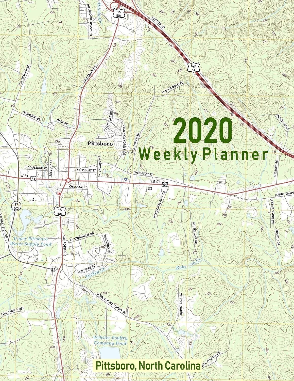 裏切り者組立絶滅した2020 Weekly Planner: Pittsboro, North Carolina: Topo Map Cover