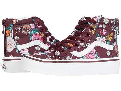 Vans Kids Sk8-Hi Zip (Little Kid) ((Butterfly Floral) Port Royale/True White) Girls Shoes