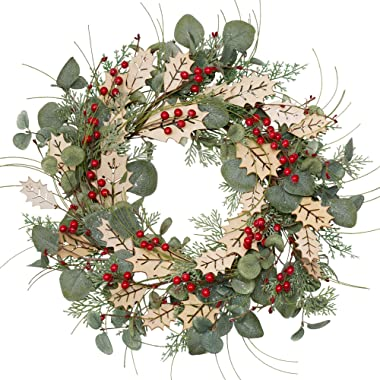 18 Inch Christmas Wreath Traditional Pine Branches Wreath with Wood Leaves and Berries Christmas Decorations for Front Door