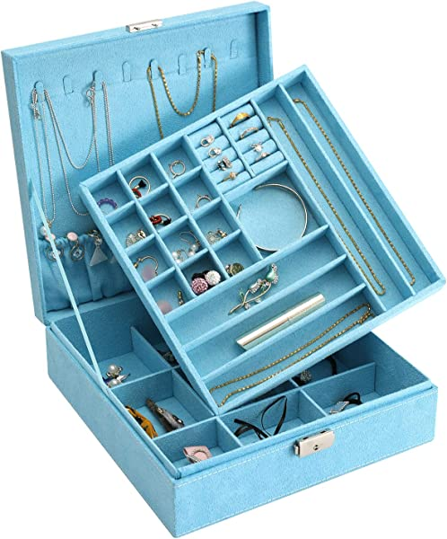 DerBlue Jewelry Case Jewelry Box For Women Two Layer Lint Jewelry Organizer With Lock 36 Compartments And Removable Partition For Earrings Bracelets Rings Watches Case