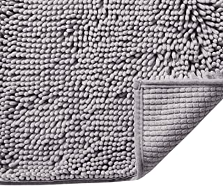 H.VERSAILTEX Grey Rugs for Bathroom Slip-Resistant Shag Chenille Bath Rugs Mat Extra Soft and Absorbent Bath Rug for Showe...