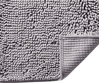 """Grey Rugs for Bathroom Slip-Resistant Shag Chenille Bath Rugs Mat Extra Soft and Absorbent Bath Rug for Shower Room Machine-Washable Fast Dry (Grey, 17"""" x 24"""")"""