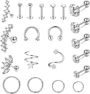 Milacolato 21 piezas de Acero Inoxidable Pendientes Cartilago Clicker Aro Trago Helix Conch Piercing Studs Nariz Labio Cli...