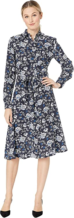 Printed Crepe Shirtdress