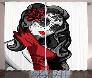 Ambesonne Skulls Decorations Collection, Sexy Sugar Skull Lady with Mexican Style Floral Mask Evil Gothic Dead Art, Living Room Bedroom Curtain 2 Panels Set, 108 X 84 Inches, Grey White Black Red