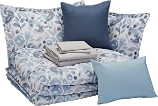dark blue and gray bedding