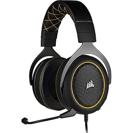 Corsair HS60 PRO Surround Auriculares para Juegos (7.1 Sonido envolvente, Espuma viscoelástica almohadillas, Unidireccional micrófono, Compatible con PC, PS4, Xbox One, Switch y móviles), Amarillo