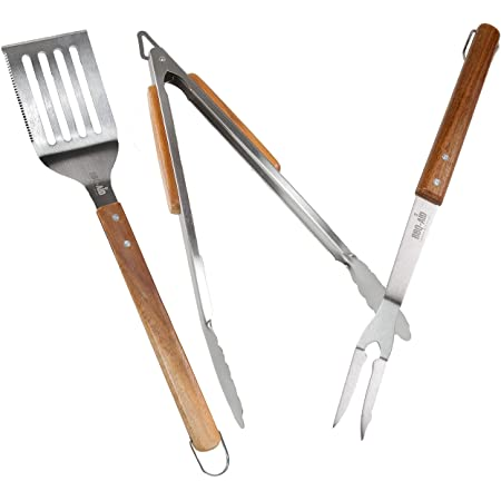 BBQ-Aid 3 Piece Grill Set BBQ Accessories - Tongs, Spatula & Fork Utensils - Heavy Duty Stainless Steel Barbecue Grilling Accessories & Tools with Solid Wood Handles
