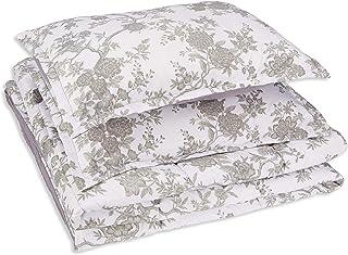 Amazon Basics Comforter Set, Full / Queen, Grey Chinoiserie, Microfiber, Ultra-Soft