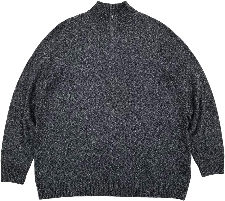 Mens Black Heather Extra Soft Quarter Zip Sweater Pullover Top