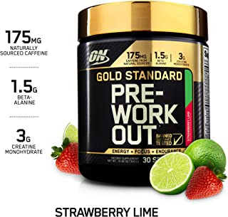 OPTIMUM NUTRITION Gold Standard Pre-Workout with Creatine, Beta-Alanine, and Caffeine for Energy, Keto Friendly, Strawberry Lime, 30 Servings