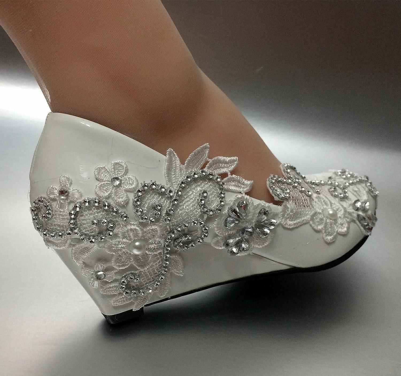 JINGXINSTORE Keil Weiße Spitze Kristall Hochzeit Schuhe Schuhe Schuhe High Heels Pumps, Hochzeitssuite  83f909