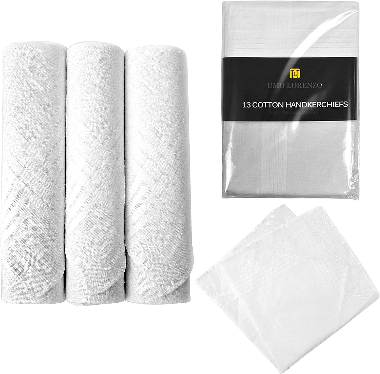 13 Pc Men's Plain White Handkerchief Pocket Square Cloth Napkin Hanky Hankie 16