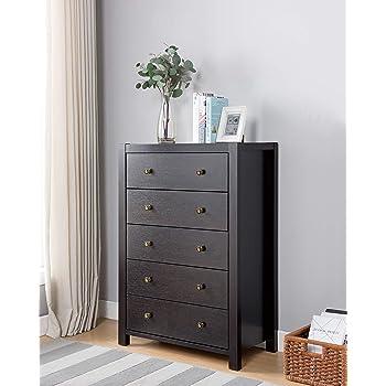 "Major-Q Id80k16015 Modern Contemporary Design 44"" H Home Bedroom Wooden Utility Storage 5 Drawer Dresser Cabinet Chest Espresso Finish"