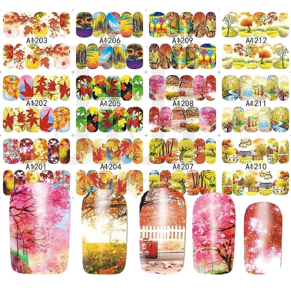 神秘的な南アメリカ省略するSUKTI&XIAO ネイルステッカー 12デザイン/セットネイルステッカーフルラップネイルアートウォーターマークネイルチップデカール美容マニキュア装飾カエデの葉