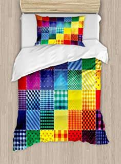 Ambesonne Abstract Duvet Cover Set, Rainbow Colored Square Shaped Diverse Patterns with Diagonal Forms Geometric, Decorative 2 Piece Bedding Set with 1 Pillow Sham, Twin Size, Multicolor