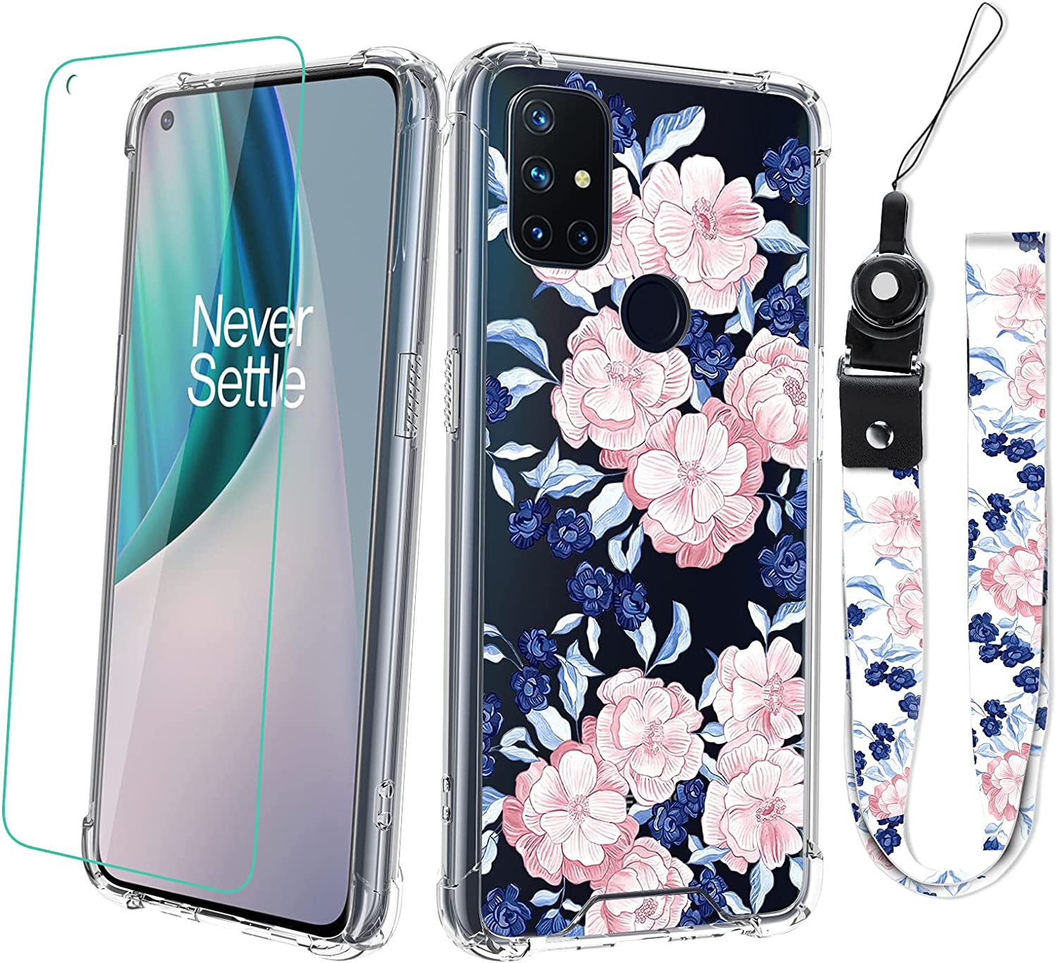 OnePlus Nord N10 (5G) Case with Screen Protector Penoy Floral Design with Neck Strap Lanyard for Women Girls Protective Shockproof Clear Transparent Pink Blue Flower Cell Phone Bumper Cover Case