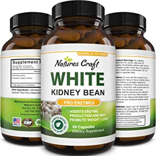 Natural White Kidney Bean Extract - White Kidney Bean Energy Booster AMPK Activator and Antioxidant Capsules - Digestive H...