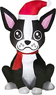 boston terrier christmas inflatable
