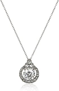 "Sterling Silver White Swarovski Zirconia and White Swarovski Crystal Pendant Necklace, 18"""