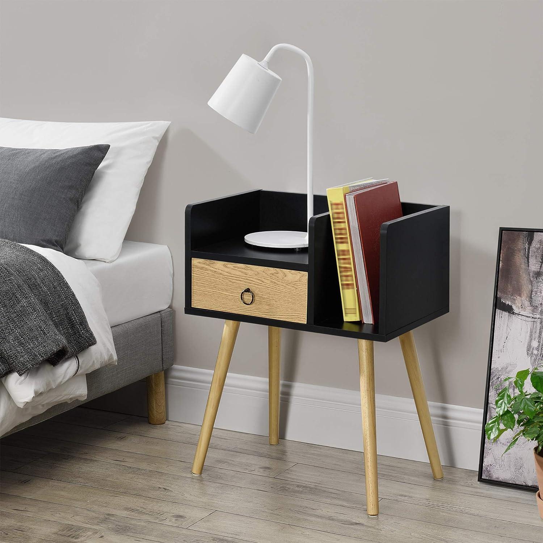 [en.casa] Beistelltisch mit Schublade 200 x 200 x 200 cm Kommode Nachttisch  mit 20 Ablagen Nachtschrank Nachtkommode Schwarz
