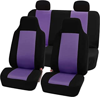 FH Group FB102114 Classic Full Set High Back Flat Cloth Car Seat Covers, Purple/Black w. Free Air Freshener- Fit Most Car, Truck, SUV, or Van