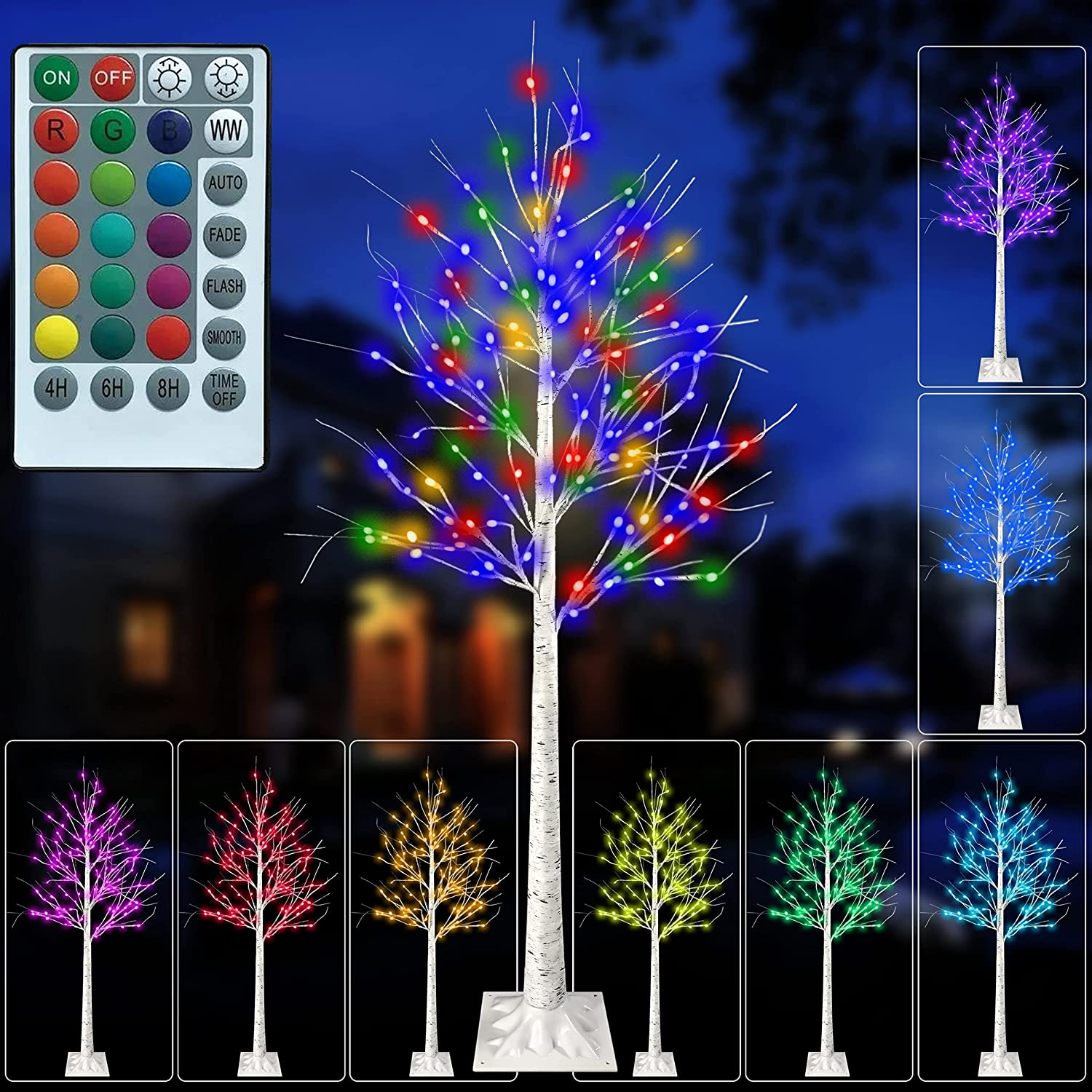Sales of SALE items from new works 5 Feet LED Color Changing Birch Dimmable Light Max 72% OFF Lighted Tree RGBW
