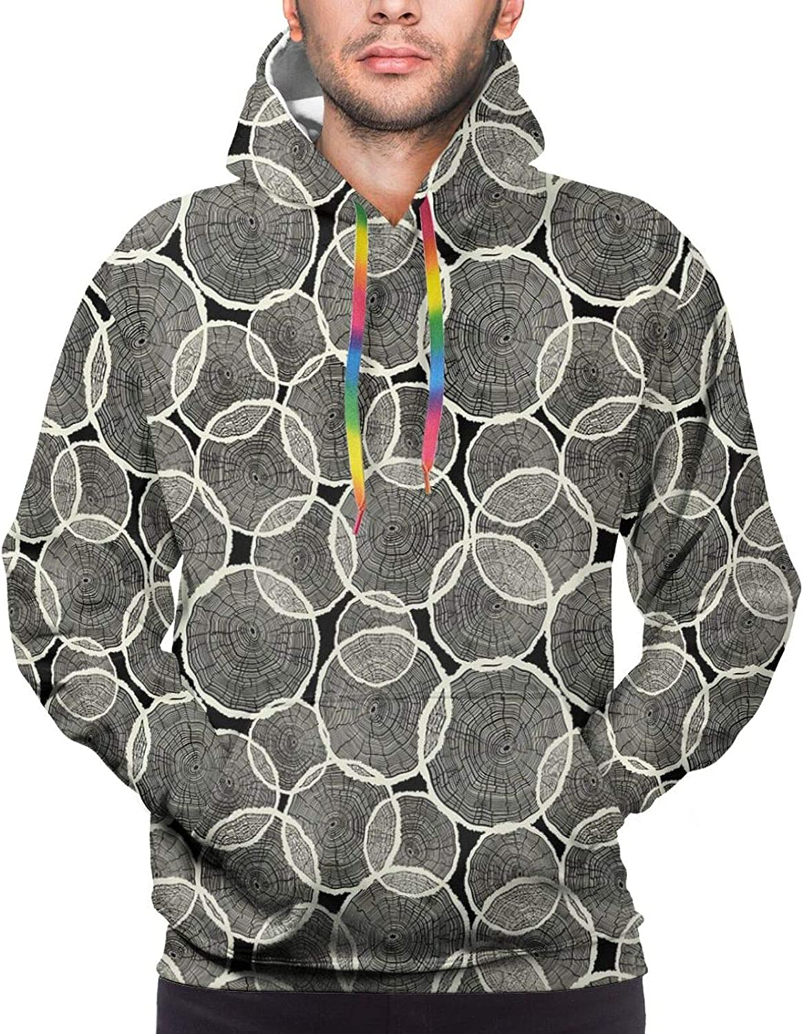 TENJONE Men's Hoodies Sweatshirts,Abstract Monochrome Composition with Flowers and Foliage Leaves Pattern