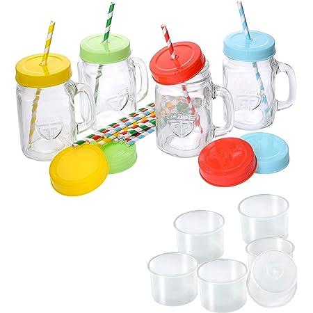 Strohhalm 500ml Glas Gläser Trinkglas 2er Pack Trinkgläser mit Deckel Henkel