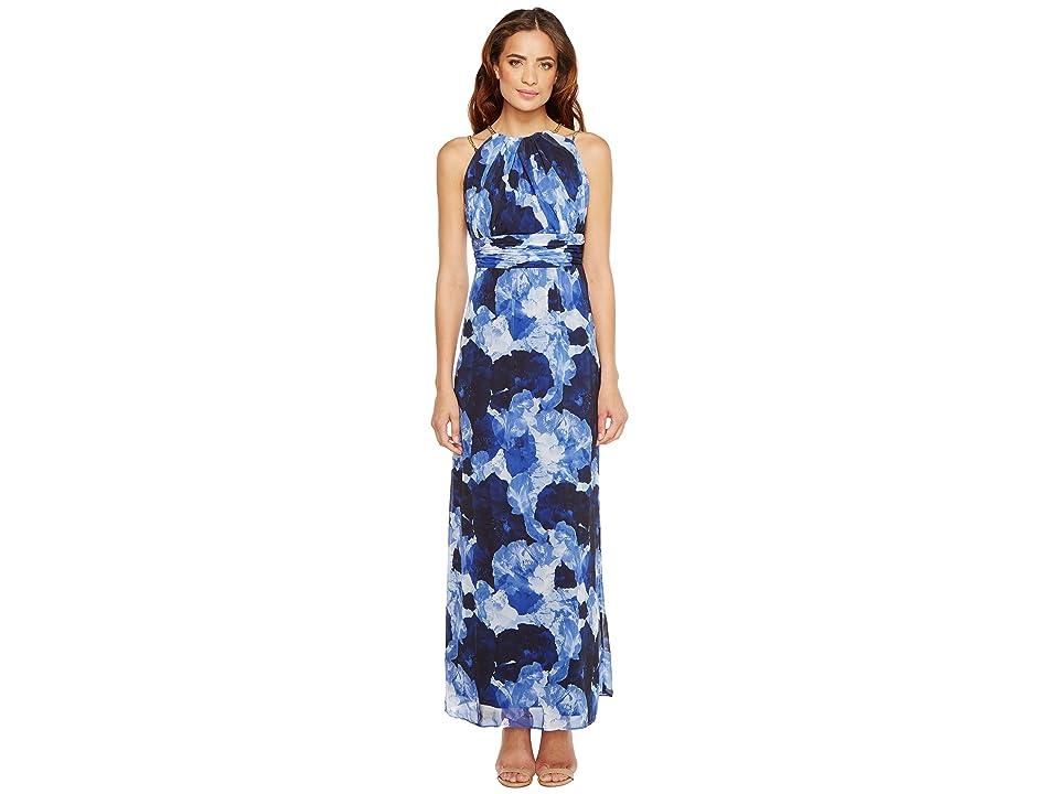 Sangria Dark Floral Print Chiffon Maxi with Chain Strap Detail (Blue/Multi) Women