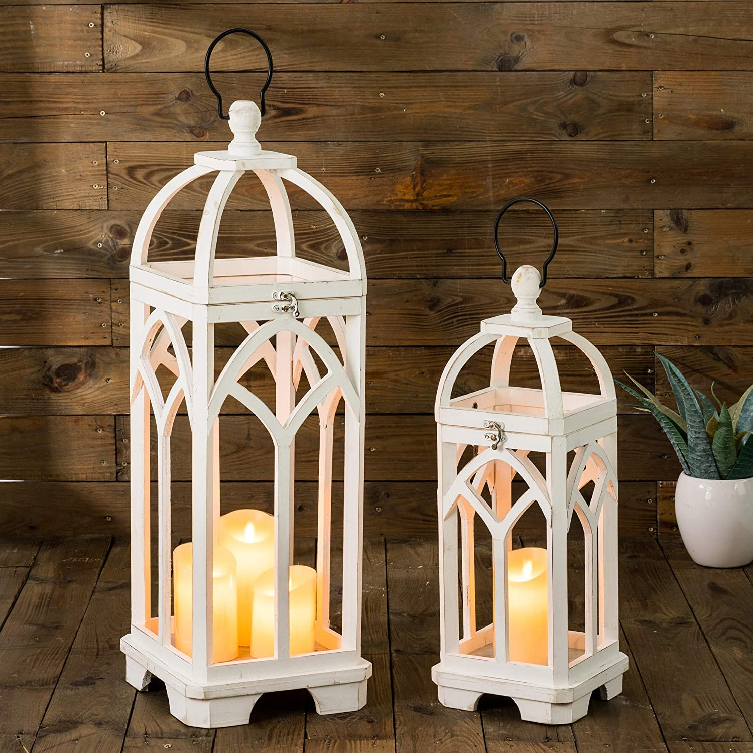 Max 54% OFF glitzhome Farmhouse Decorative Lanterns Safety and trust Candle Ch Wooden Lantern