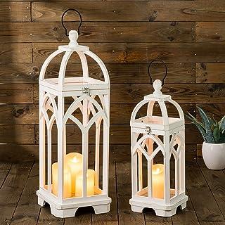 Glitzhome Pack of 2 Farmhouse Decorative Lanterns Wooden Candle Lantern Church Window Frame Lanterns for Wedding Mantle En...