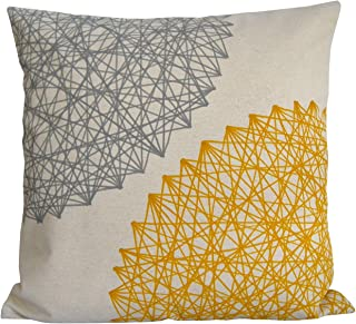 Cojín amarillo y gris, funda de lino de muchas medidas, diseño de BeccaTextile.