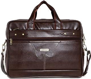 Veneer Men's Synthetic Leather Waterproof 15.6 Inch Large Satchel Messenger Bag (Brown)