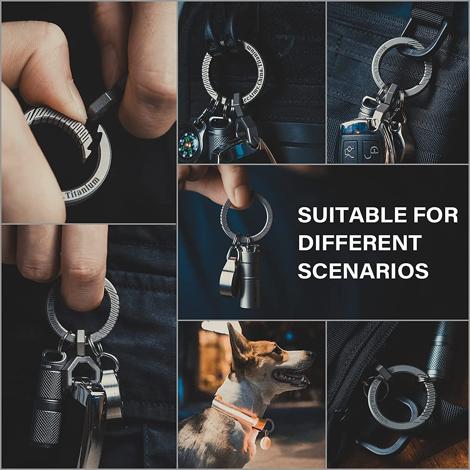 MecArmy CH9/CH10 Circle Keychain, Titanium Carabiner EDC Key Ring Clip, Anti-Lost Quick Release Spring Snap Keyring for EDC
