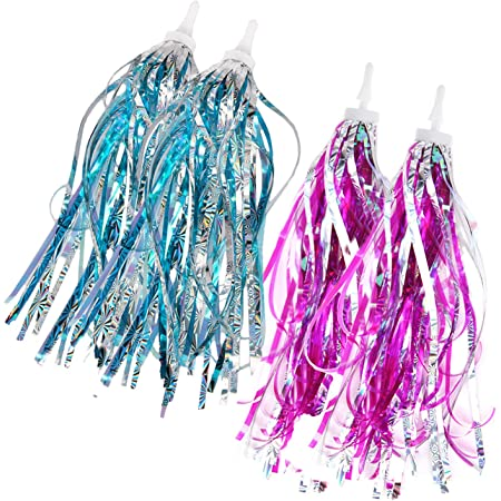 NUOBESTY Colourful Bike Streamers Handlebar Tassel Ribbons Pendant Accessories Grips Tassels for DIY Decor Kids Bicycle 12pcs