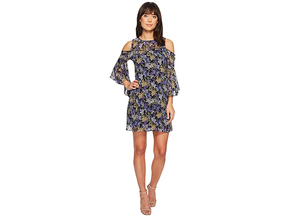 CeCe Lydia Cold Shoulder Bell Sleeveless Floral Dress (Luxe Indigo) Women