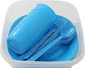 Menz Stahlwaren GmbH Presupuesto lata camping set para 4personas con platos, vaso y cubiertos, azul - 1 unidad, 1 pieza