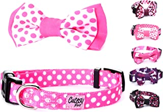 Cutesy Pet Dog Collar with Adjustable Bow | 4 Designs in 4 Sizes | Comfortable and Strong