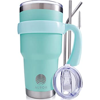 ALBOR Triple Insulated Stainless Steel Tumbler 30 oz Seafoam Coffee Travel Mug With Handle