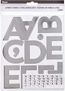 Darice Silver Alphabet Adhesive Backed Stickers, 100 Piece