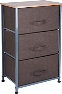 OWNFUN 3 Fabric Drawers Storage Dresser Organizer Unit for Bedroom, Hallway and Children's Room - Brown