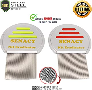 Nit Terminator Lice Comb - (Set of 2) Efficient Double Striped Stainless Steel Metal for Adults and Kids