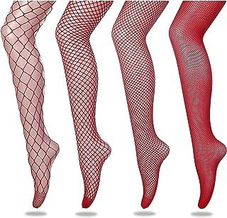 FLORA GUARD Medias de rejilla de medias de cintura alta, 4 pares de medias de rejilla de cintura alta con 4 tipos