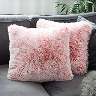 Best Uhomy Home Decorative Luxury Series Super Soft Style Faux Fur Throw Pillow Case Cushion Cover for Sofa/Bed Pink Ombre 18x18 Inch 45x45 cm Set of 2 Review